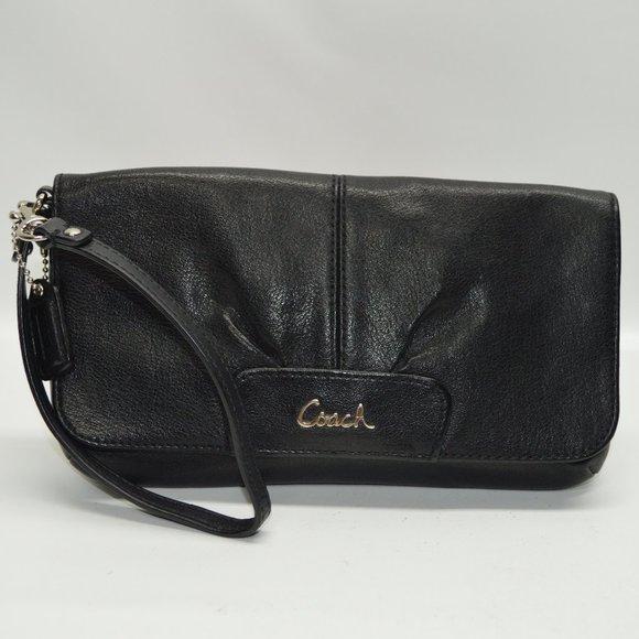 Coach Handbags - Coach Ashley Black Leather Flap Wristlet Clutch